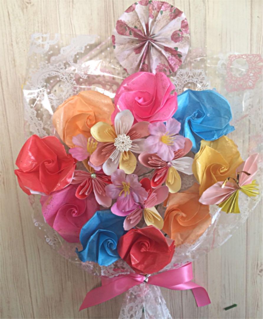 敬老の日に!!枯れない折り紙花束!メッセージ