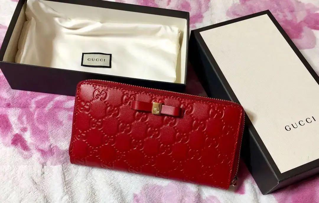 outlet store 81ae1 92861 GUCCI グッチ 長財布 赤 リボン(¥53,000) - メルカリ スマホでかんたん フリマアプリ