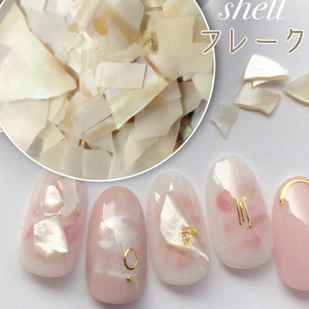 貝殻 ネイル シェルフレーク ホワイト パール(¥300) , メルカリ スマホでかんたん フリマアプリ
