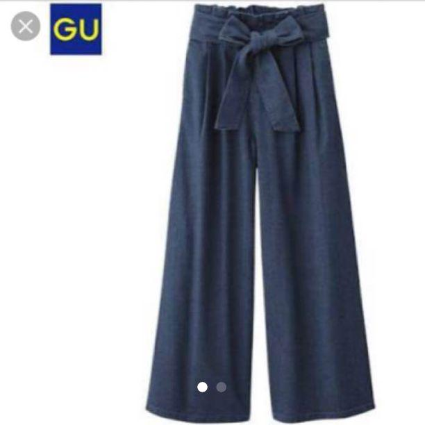2948a11bbc9e9d メルカリ - GU ウエストリボン ワイドパンツ 【デニム/ジーンズ ...