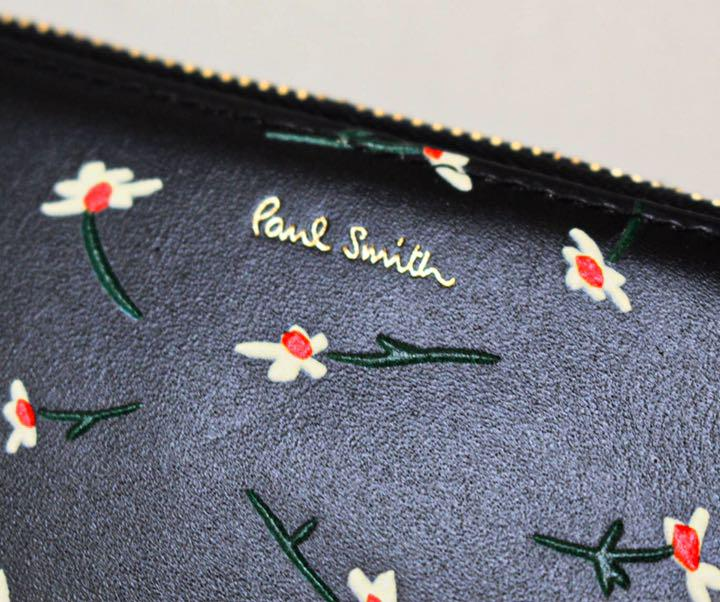 《ポールスミス》新品 ペインテッドデイジー 花柄レザーラウンドファスナー式長財布