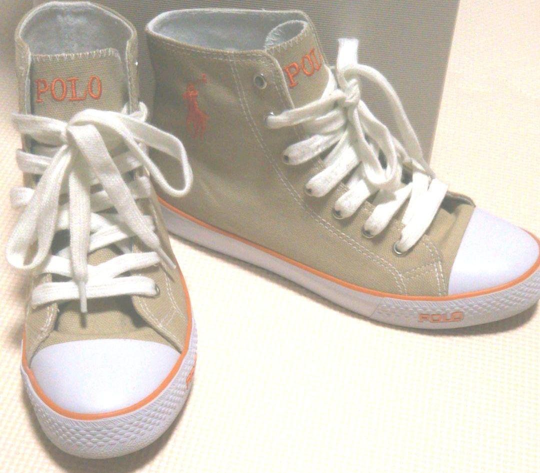 美品 POLO ラルフローレン ハイカット スニーカー 紐 靴 ベージュ 23㎝(¥3,000) , メルカリ スマホでかんたん フリマアプリ