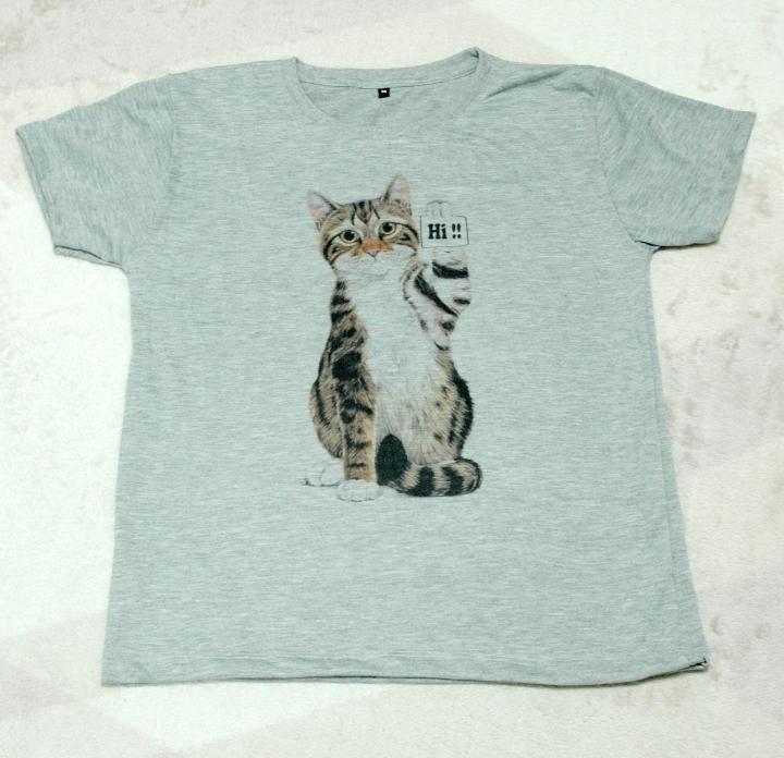 メルカリ 新品 Hi猫イラスト Tシャツ グレー レディース M Tシャツ