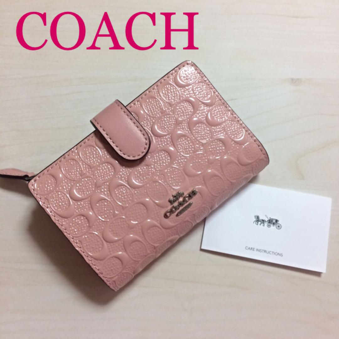 newest 6134f a2a85 【新品 未使用】COACH コーチ 財布 二つ折財布 ペタルピンク ピンク(¥13,200) - メルカリ スマホでかんたん フリマアプリ