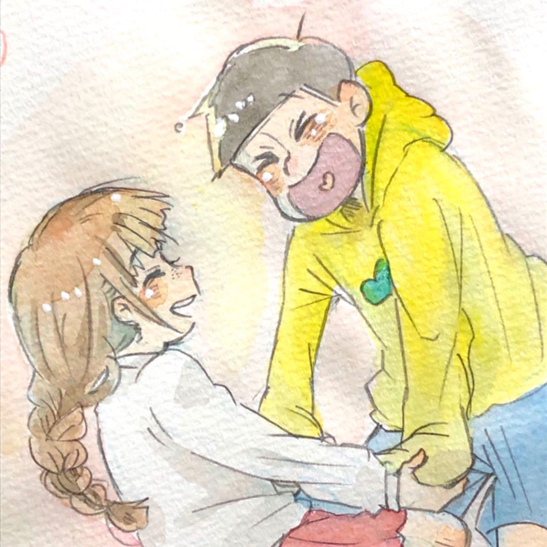 メルカリ 手描きイラスト おそ松さん 十四松彼女ちゃん アート写真