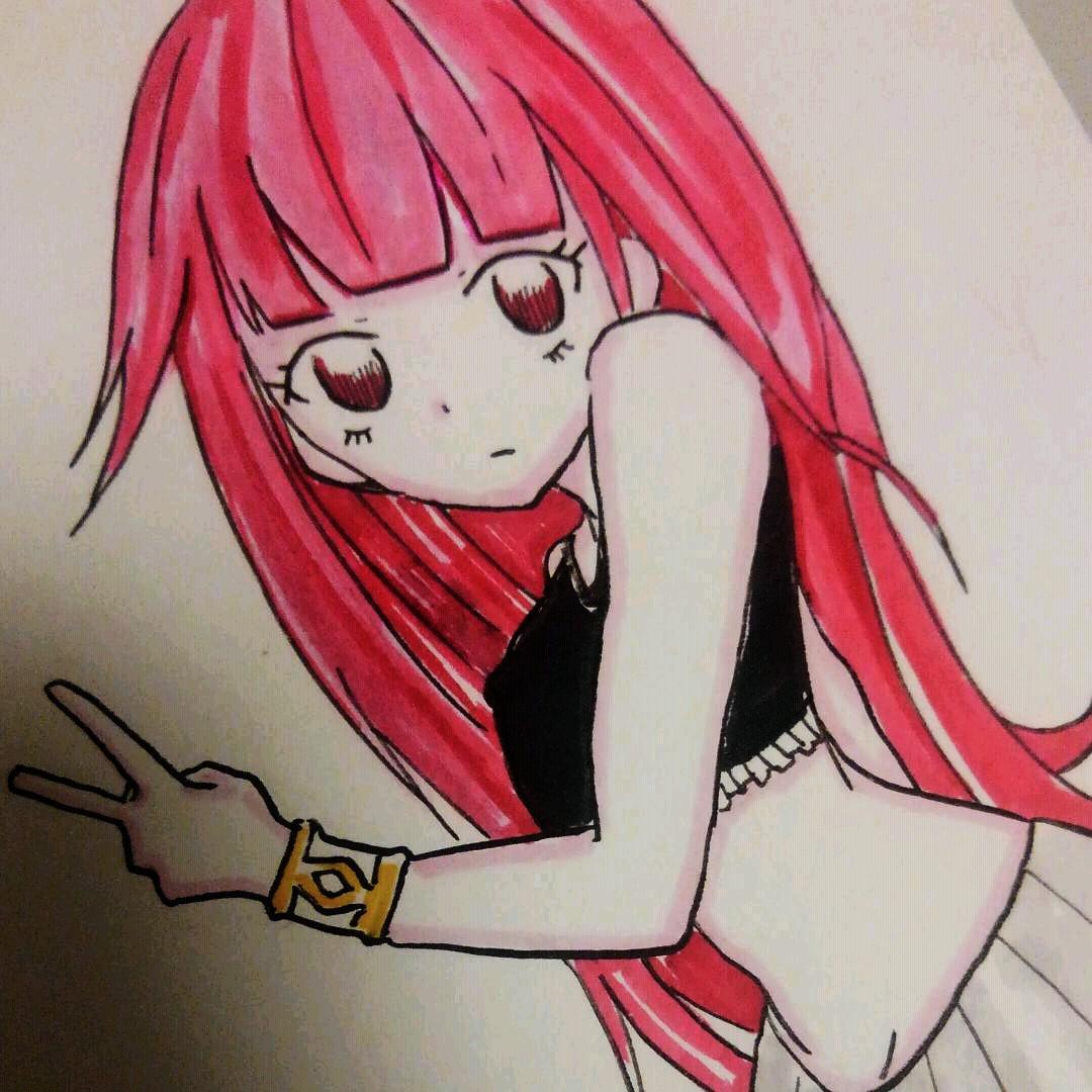 メルカリ 赤髪ロング手書きイラスト オリジナル アート写真