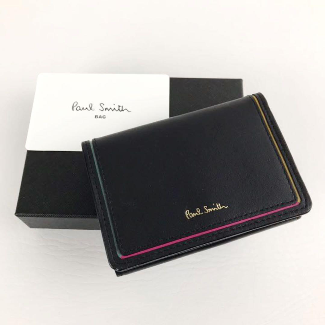 新品 Paul Smith ポールスミス マルチカラー ブラックレザー折り財布