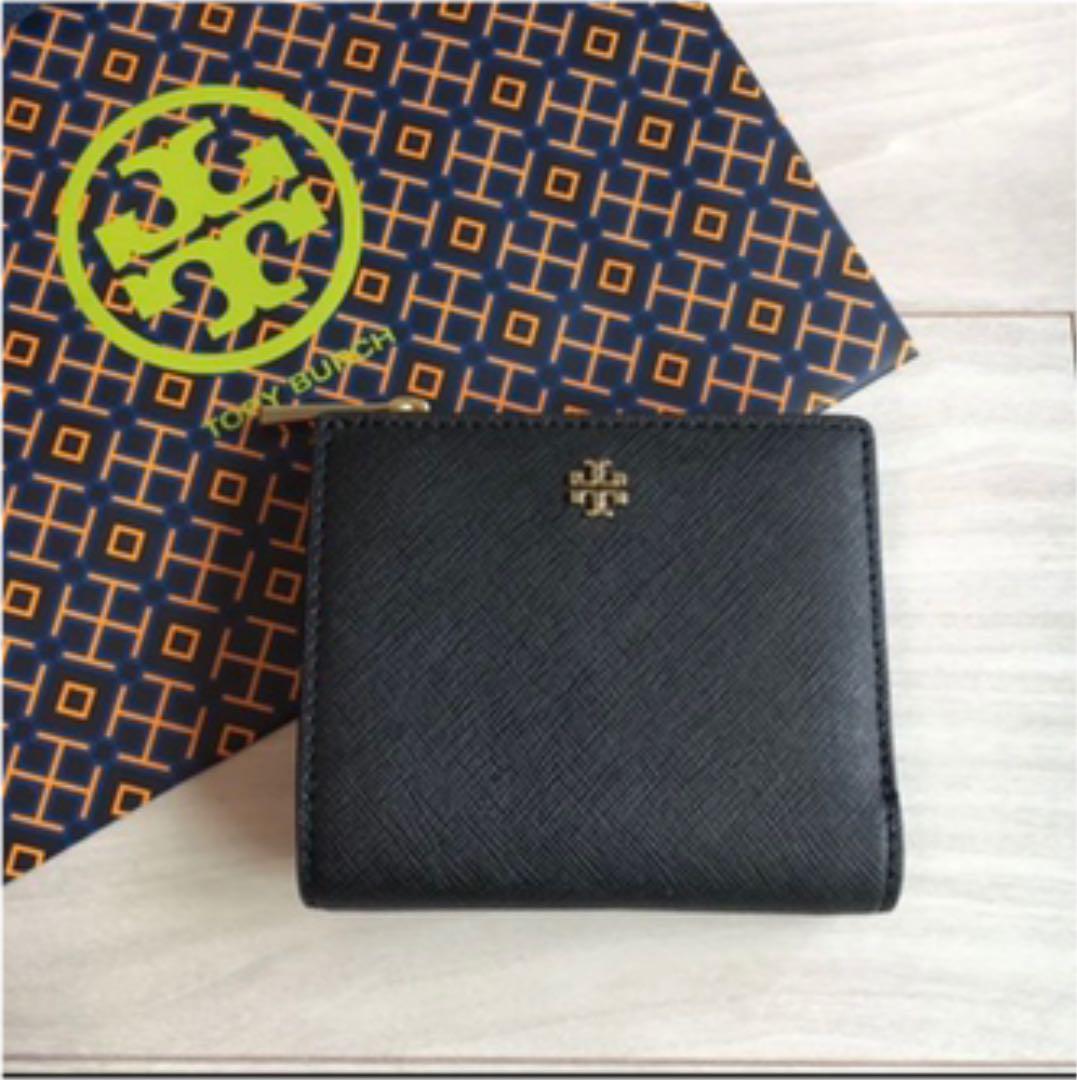 new photos 63cf2 fa8d9 トリーバーチ 折財布 二つ折り 黒 ブラック ミニウォレット 旅行用 ミニ財布(¥12,800) - メルカリ スマホでかんたん フリマアプリ