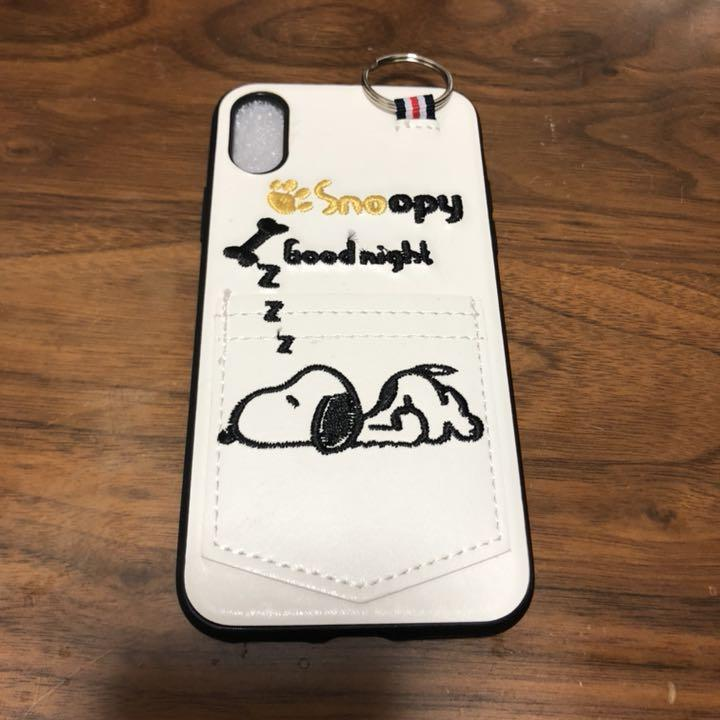 21859cbe24 メルカリ - 最安値 スヌーピー iPhoneX XR ポケット付き レザーケース 白 ...