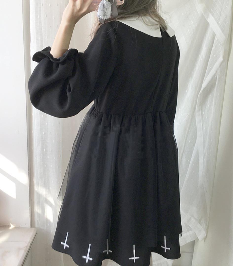 f230a1975ba76 Mサイズ ロリータ服 ワンピース コスプレ 黒十字 森ガール 姫袖 通勤 長袖