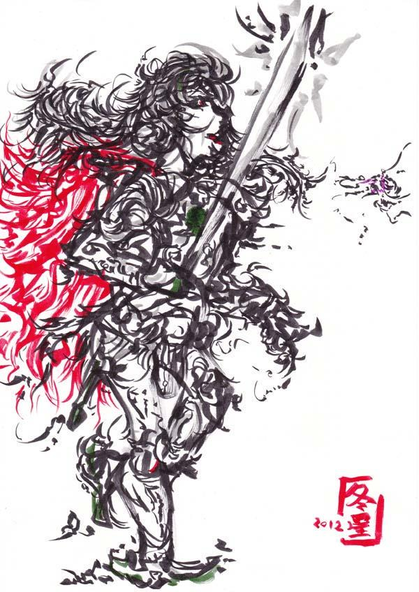 メルカリ 1点ものイラスト女戦士オリジナル手描き作品
