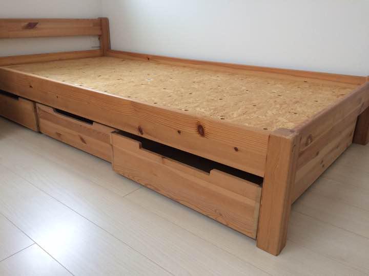無印良品 パイン材ベッドシングル 収納付き(¥3,000) , メルカリ スマホでかんたん フリマアプリ