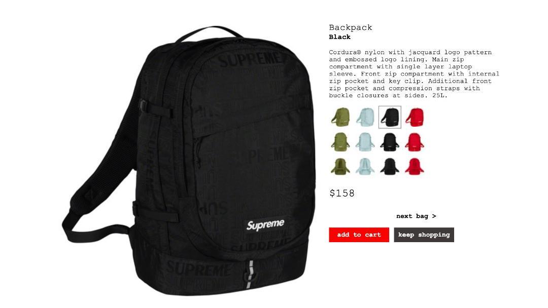8ee539a136ba メルカリ - SS19 SUPREME(シュプリーム) BACKPACK 黒 【リュック/バック ...