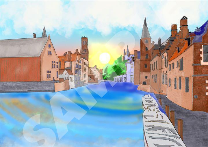 メルカリ イラスト フレーム付き ヨーロッパの街並み アート