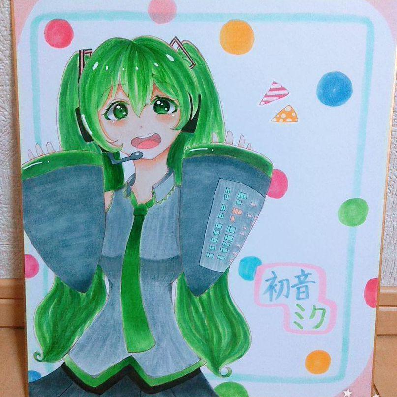 メルカリ 初音ミク イラスト 絵 色紙 キャラクターグッズ 300