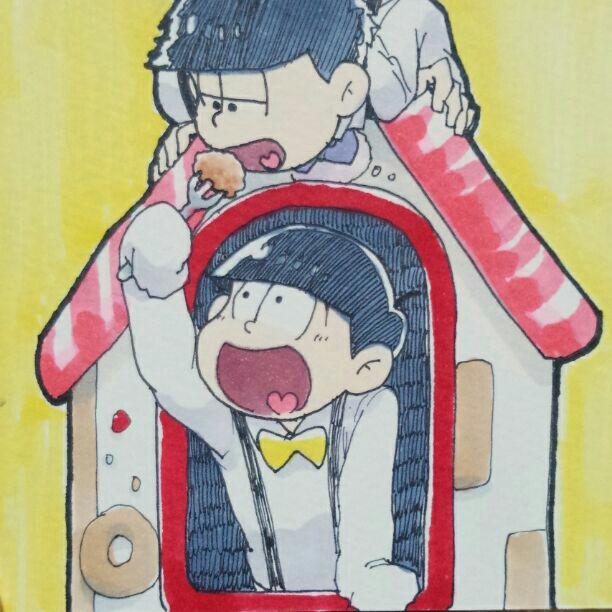 メルカリ おそ松さん手描きイラスト 一松十四松 ハンドメイド