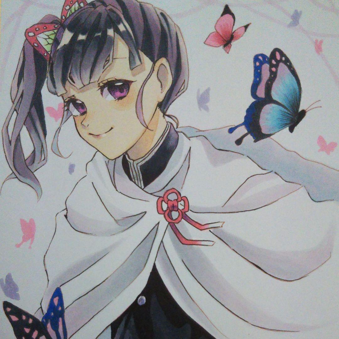 手描きイラスト 栗花落カナヲ 鬼滅の刃(¥1,500) , メルカリ スマホでかんたん フリマアプリ