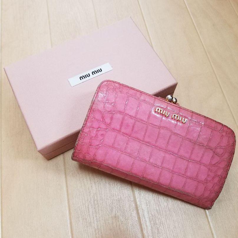 online store e7f97 41051 miumiu ミュウミュウ 財布 ピンク クロコ型押し がま口(¥4,200) - メルカリ スマホでかんたん フリマアプリ