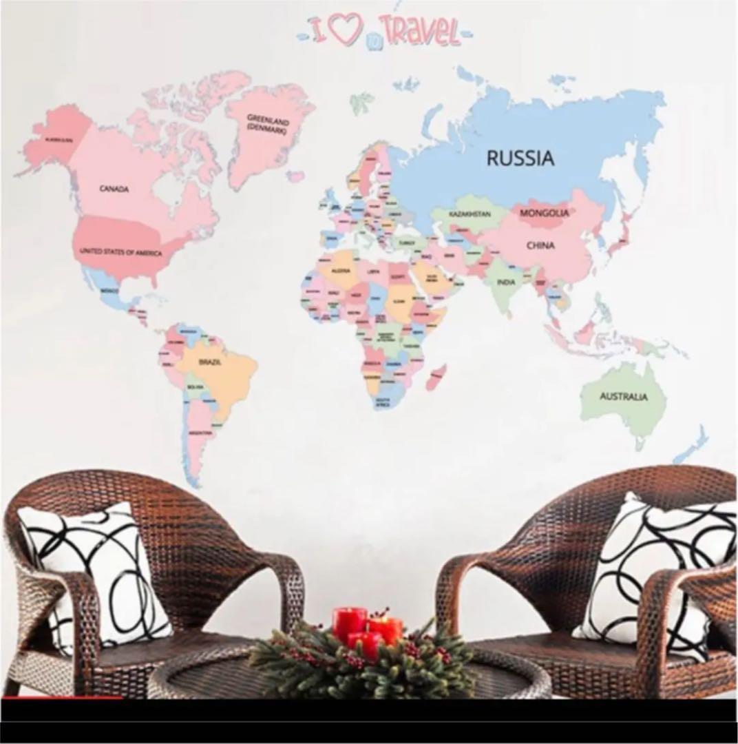 メルカリ ワールドマップ 世界地図 ウォールステッカー 壁紙 旅行