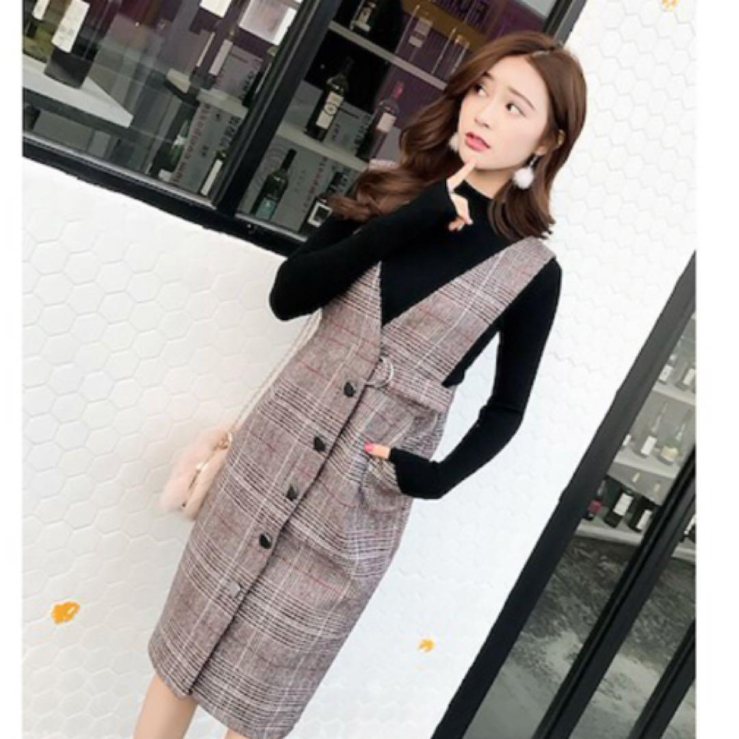 チェック柄 ひざ丈ワンピース 重ね着 韓国ファッション 秋服 冬服 ブラウン系(¥2,500) , メルカリ スマホでかんたん フリマアプリ