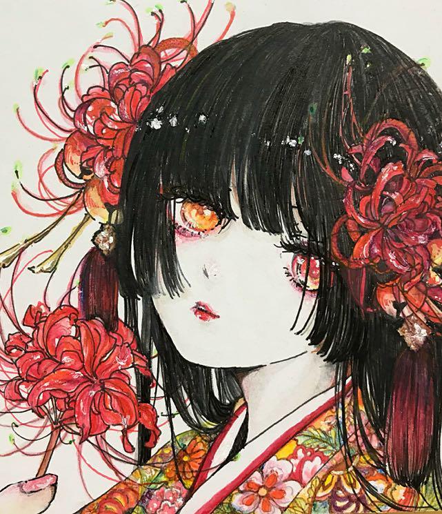 メルカリ 自作イラスト オリジナル 彼岸花 アート写真 3800