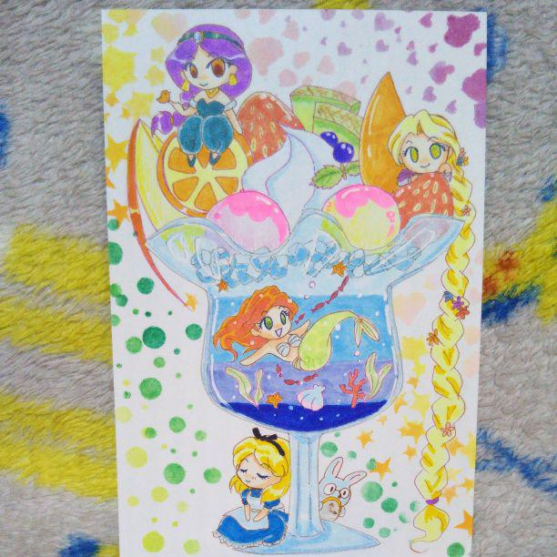 ディズニープリンセス イラスト 手描き