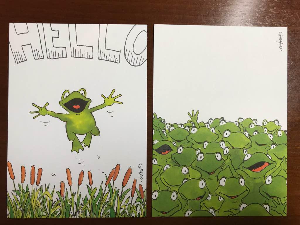 メルカリ カエルのイラストのポストカード2枚 使用済切手 官製