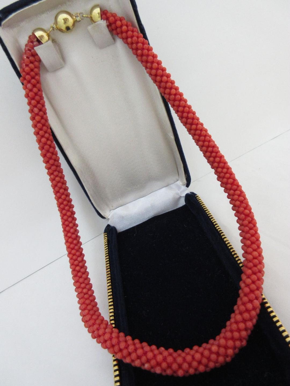 珊瑚 ネックレス 赤