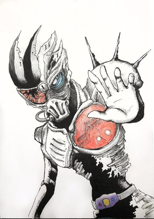 メルカリ 自作イラスト仮面ライダーゲンムゾンビゲーマーa5