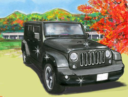 メルカリ 車絵イラスト a4サイズ ジープのイラスト紅葉背景