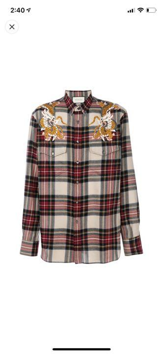 0e64a1c7090e メルカリ - 確実正規品 GUCCI グッチ 18AW TAKUYA∞ チェックシャツ 龍 ...
