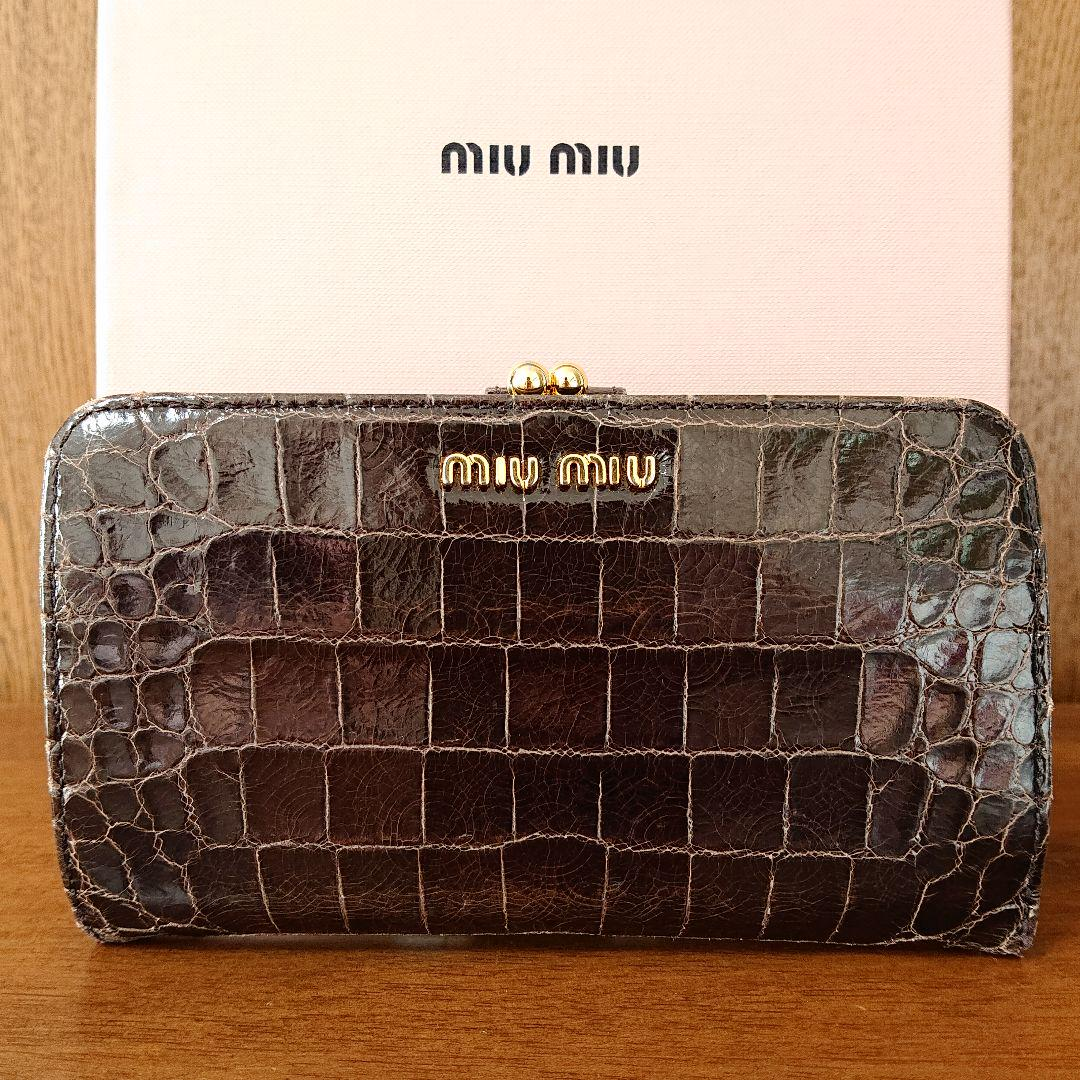 outlet store sale 9e439 f5358 miumiu ミュウミュウ クロコ型押し がま口 二つ折り 長財布(¥11,000) - メルカリ スマホでかんたん フリマアプリ