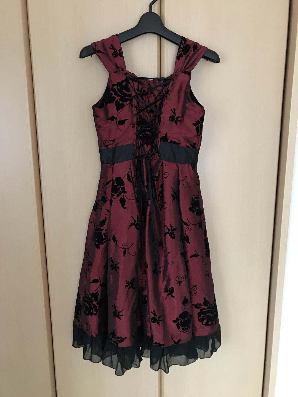 715eb94067547 ジュニアドレス、発表会、レディース ドレス ローズフロッキープリントドレス赤黒M
