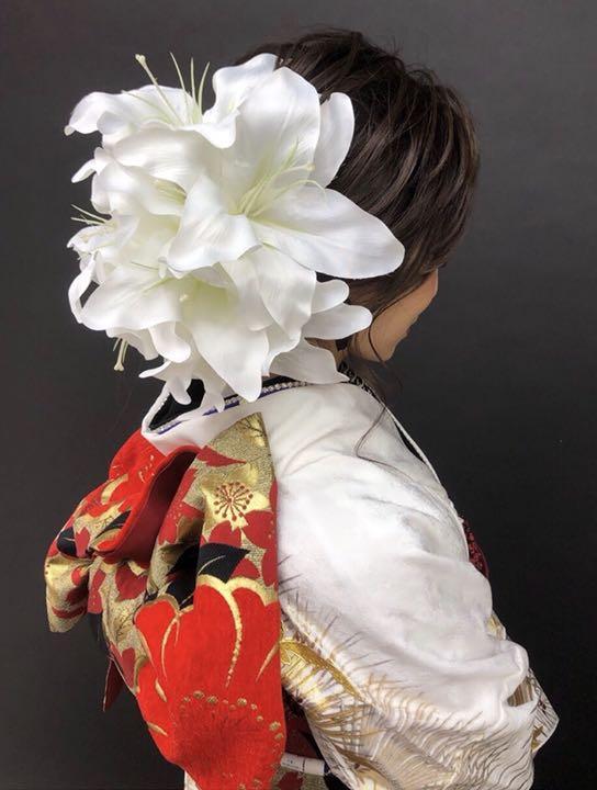 【オリジナル】白 古典 レトロ 髪飾り 成人式 卒業式 振袖 袴 biwa桜