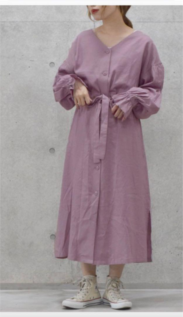07f9fa448626e メルカリ - wcloset 麻レーヨン羽織ワンピース  ロングワンピース ...