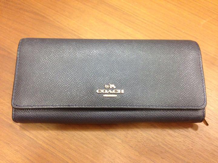 new styles 46f77 df9a9 再値下げ‼︎COACHフラップウォレット クロスグレインレザー53906ネイビー(¥3,000) - メルカリ スマホでかんたん フリマアプリ