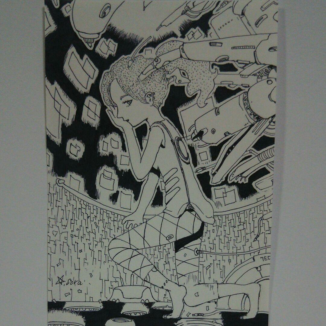 メルカリ オリジナルイラスト 手描きイラスト Sf 機械 モノクロ 女の子