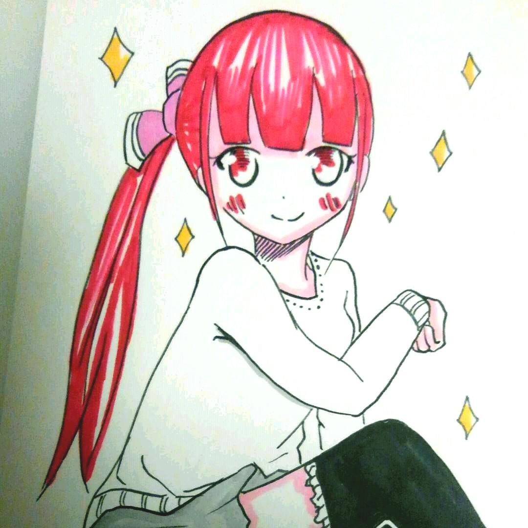 メルカリ 赤髪少女手描きイラスト オリジナル アート写真