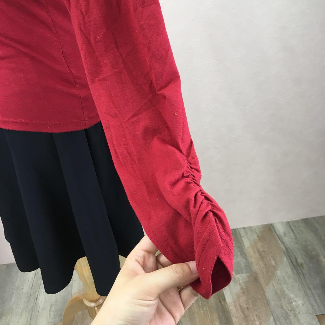 64c64e794e54f メルカリ - 2way 襟 着せ替え トップス 赤 【Tシャツ/カットソー(七分 ...
