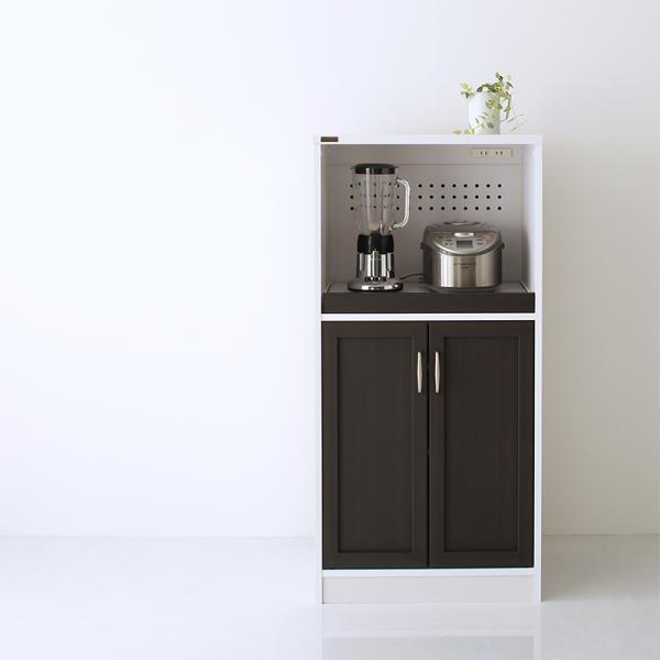 キッチン収納 レンジ台 幅58 ツートンカラー ダークブラウン