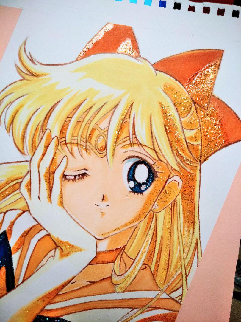 メルカリ 手描きイラスト セーラームーン セーラーヴィーナス 愛野美奈子 ハンドメイド 3 000 中古や未使用のフリマ