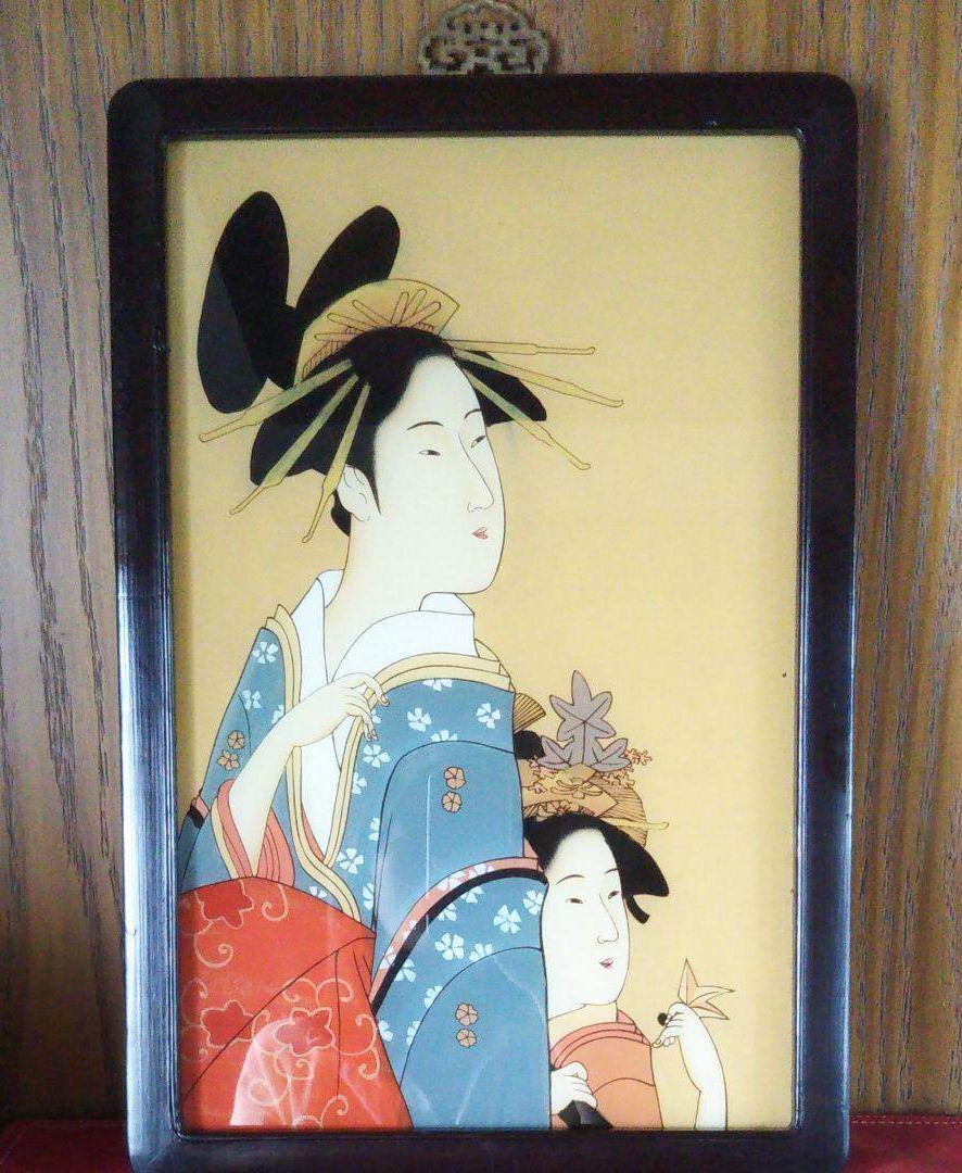メルカリ 江戸 ガラス絵 浮世絵 美人画 日本画 絵画 木製額縁 工芸