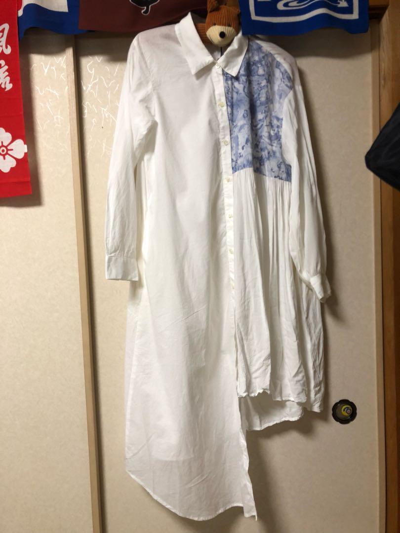 634ffcd90e89e メルカリ - bedsidedrama かけ違いのシャツドレス ワンピース  ロング ...