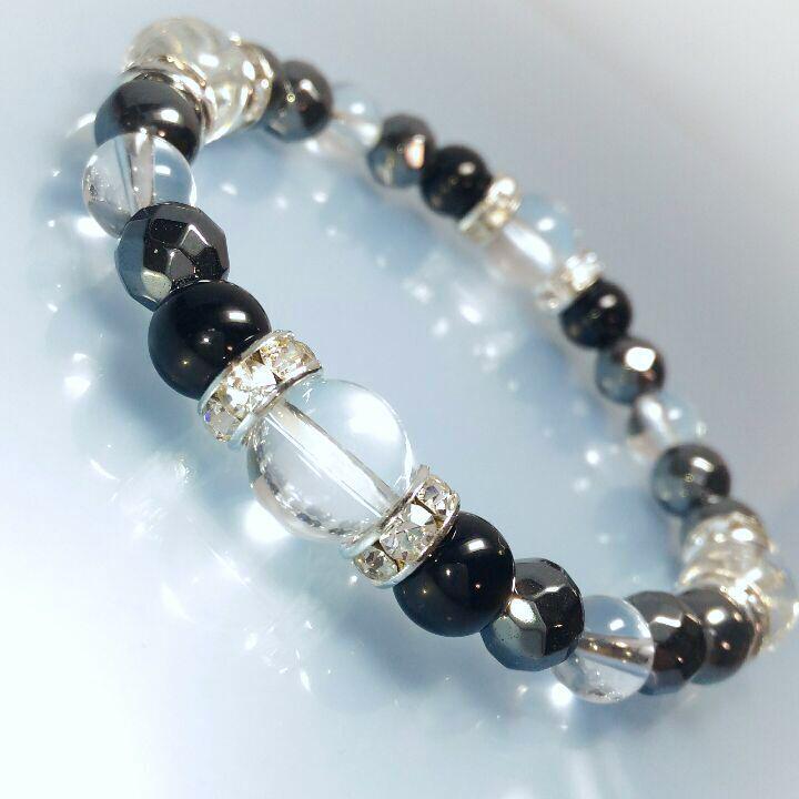 57d9c4ee48 メルカリ - モリオン&高品質水晶 天然石パワーストーンブレスレット ...
