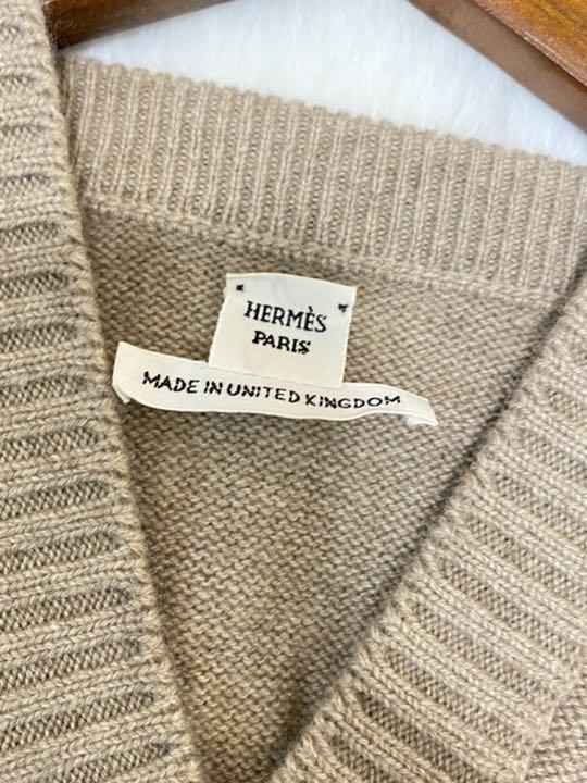 極美品‼HERMES エルメス セリエボタン付き カシミヤ ワンピース 34
