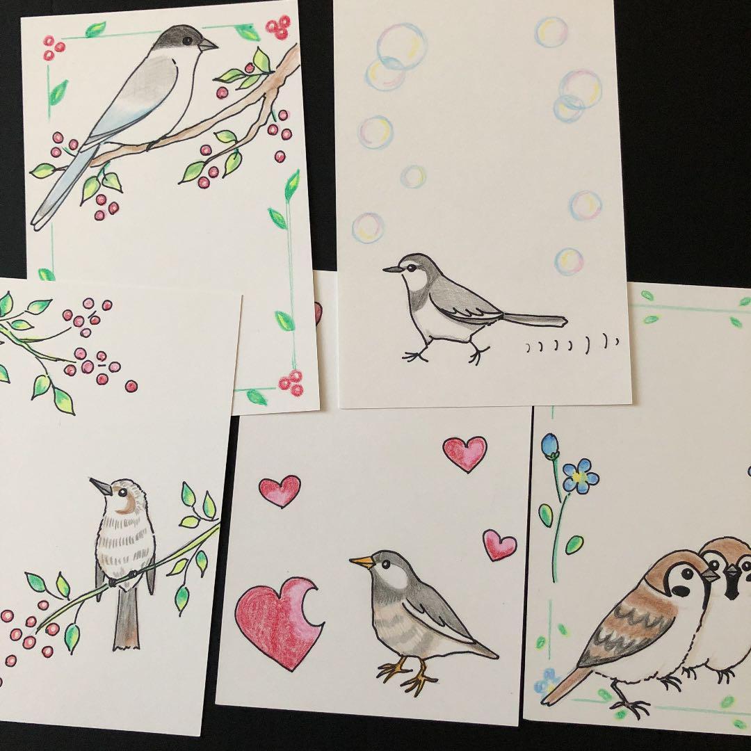 メルカリ 原画イラスト 自作イラスト 絵画 鳥 小鳥 野鳥 アート写真