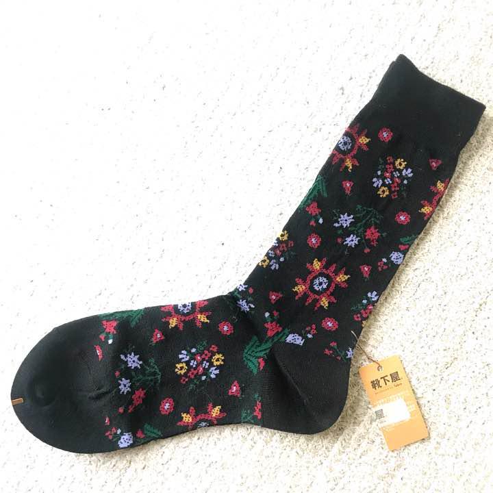 靴下 靴下屋 タビオ 日本製 花柄 植物 ボタニカル 黒 ソックス(¥700) , メルカリ スマホでかんたん フリマアプリ