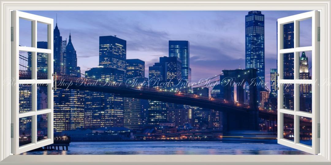 メルカリ パノラマ窓仕様 夕暮れのブルックリン橋 夜景 ニューヨーク 壁紙ポスター インテリア小物 7 700 中古や未使用のフリマ