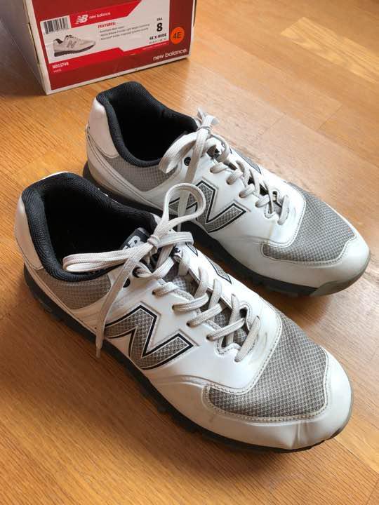 446546bd3c78d メルカリ - 【Y氏 】ニューバランスゴルフシューズ(白、USA8 ...