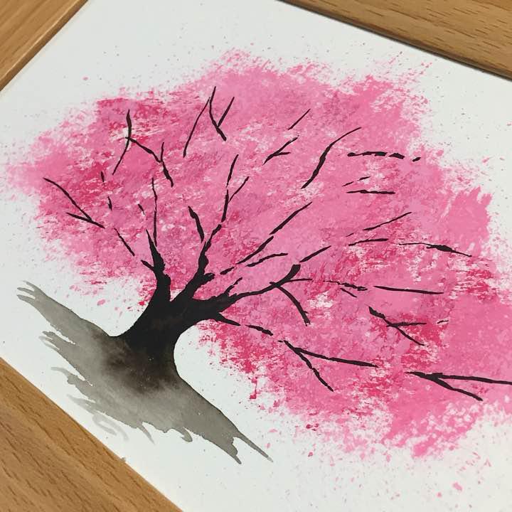 メルカリ 水彩画 桜の木 イラスト No007 絵画タペストリ 400